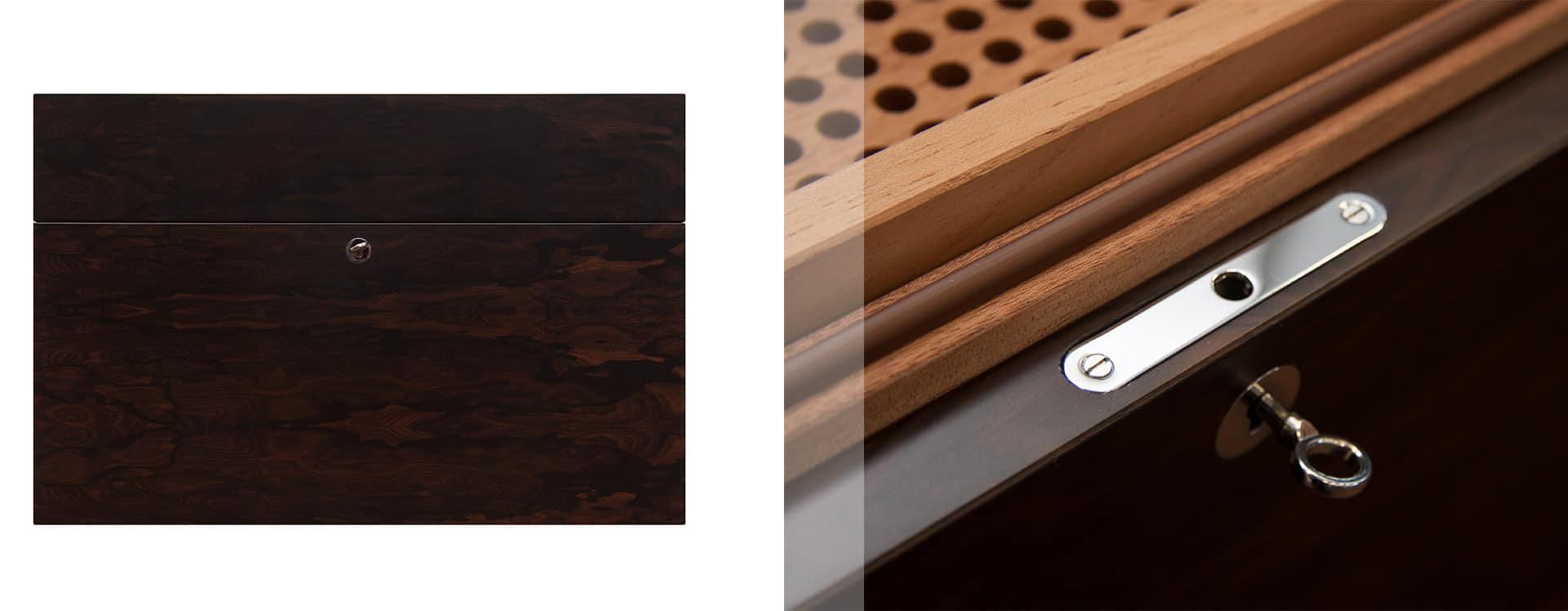 Gerber desktop humidor - cladded in luxury Ziricote veneer