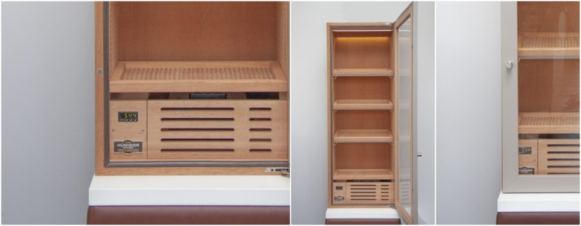 Humidor cabinet as built-in solution. Wall mounted electric humidor.