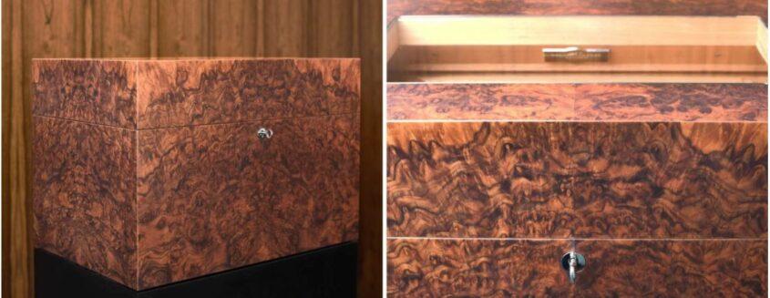 Cube in walnut root veneer - an exquisite piece of carpentry work